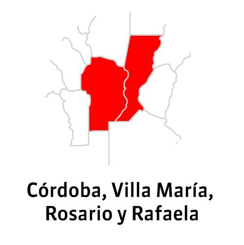 Córdoba, Villa María, Rosario y Rafaela